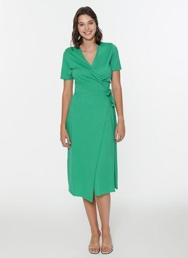 Loves You Anvelop Kapama Örme Elbise Yeşil